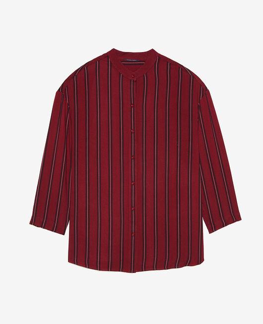 Long-sleeved tunic Ruby red stripe Pimpant