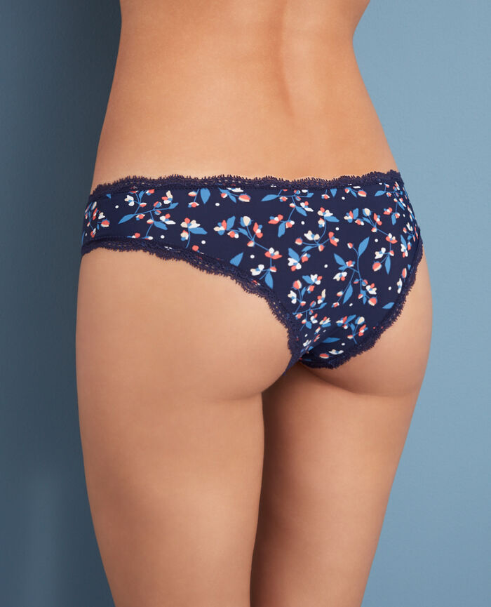 Shorty brésilien Fleurette bleu Take away