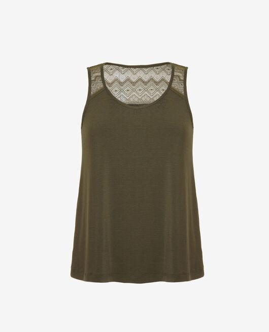 T-shirt sans manches Vert mousse Douceur