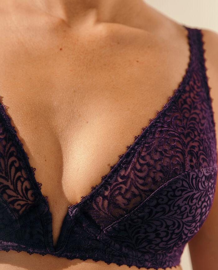Underwired triangle bra Cabaret blue Velvet
