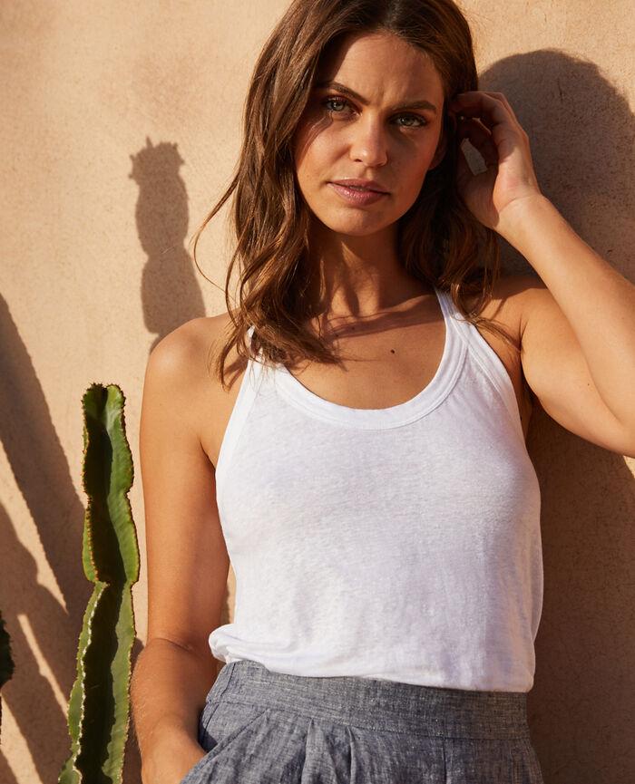 T-shirt sans manches Blanc Casual lin