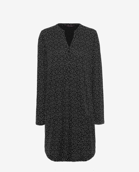 Long-sleeved nightdress Black chouia Latte
