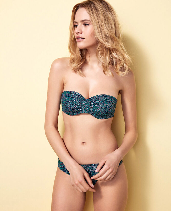 Concealed underwired strapless bikini top Pigment green Stellar