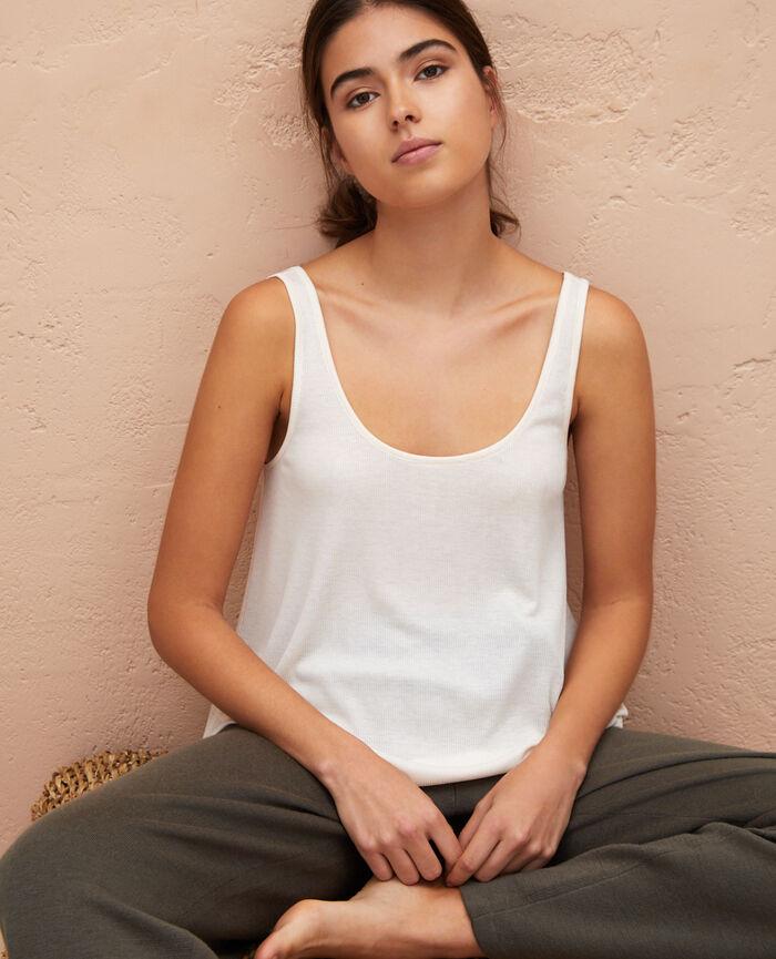 T-shirt sans manches Blanc rosé Latte rib