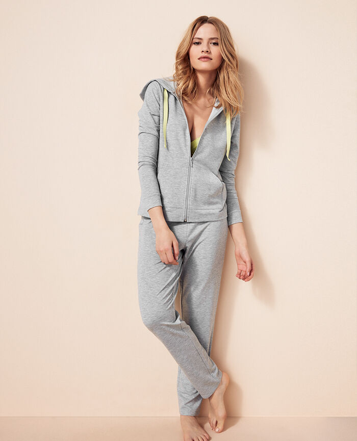Veste à capuche molleton Gris chiné Air loungewear