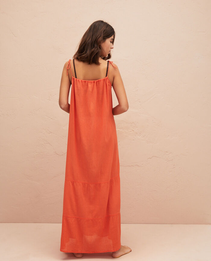 Robe longue évasée Safran Mellah