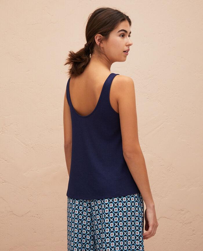 T-shirt sans manches Bleu marine Latte rib