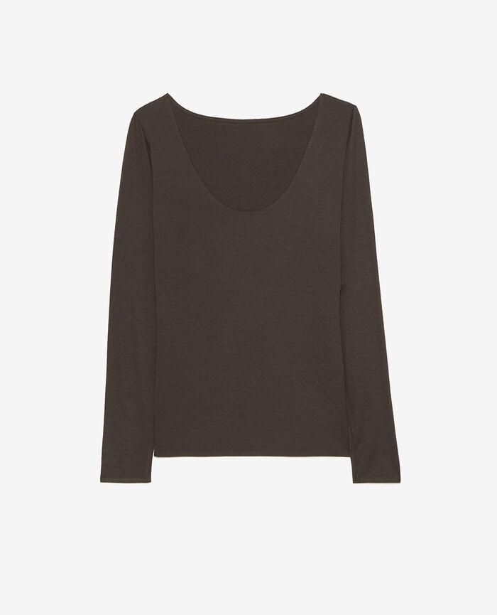 T-shirt manches longues Gris fumé Heattech® bord ultraplat