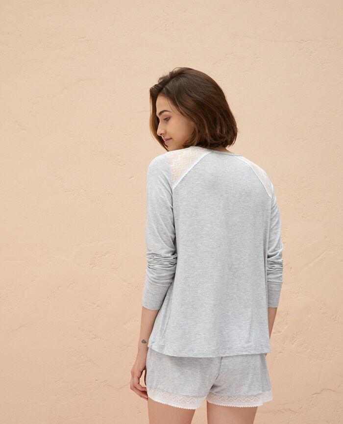T-shirt manches longues Gris chiné Douceur