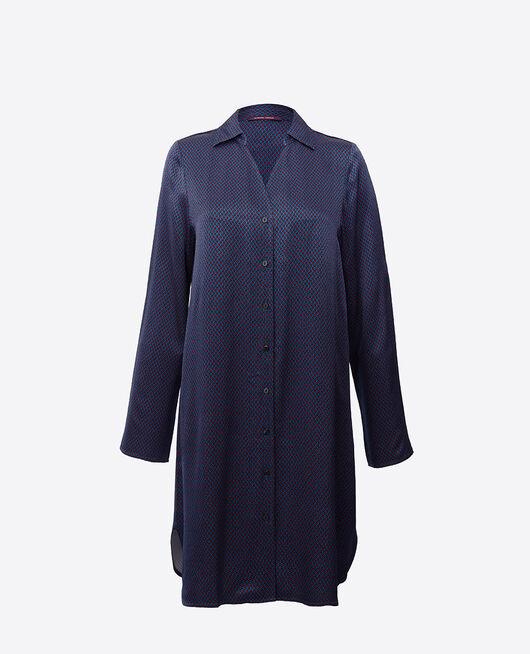 Chemise de nuit manches longues Pois bleu Aurore