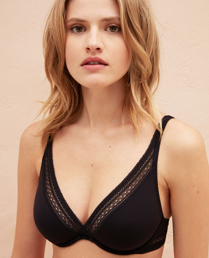 Underwired triangle bra Black Eclat