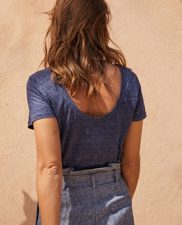 Short-sleeved t-shirt Indigo Casual lin
