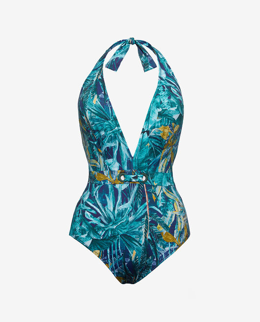Swimsuit halterneck Blue palm Palme