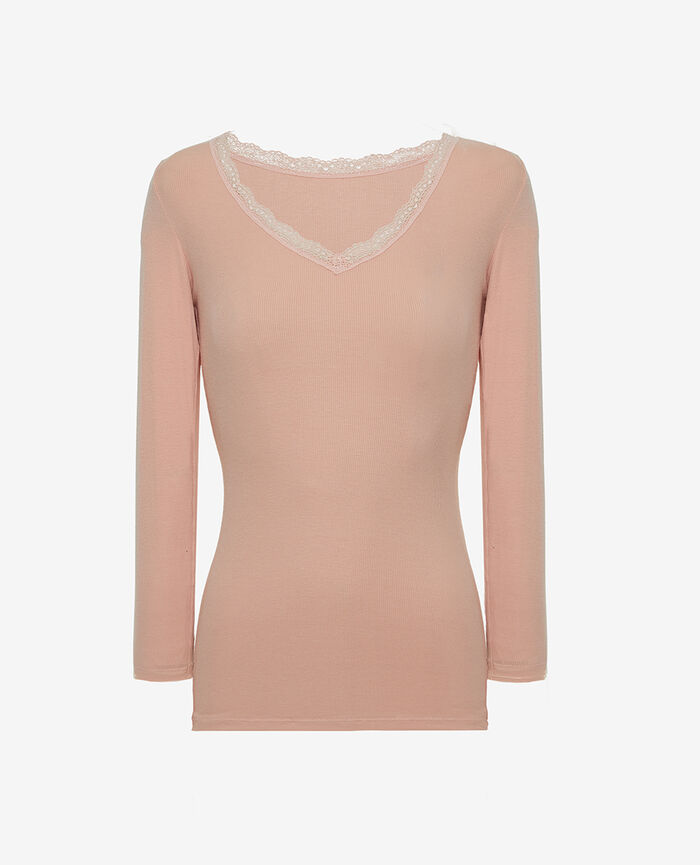 Top manches longues Rose nuage Heattech© lovely