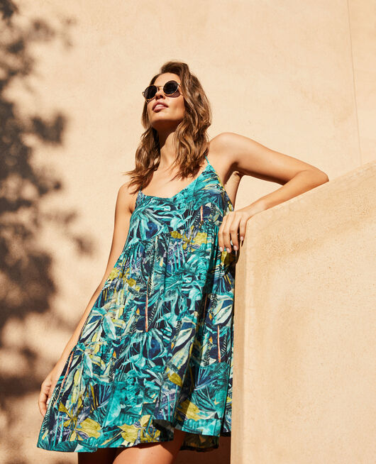 Robe Palme bleu Fancy viscose