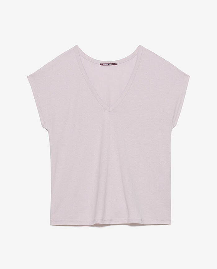 T-shirt court manches courtes col v Lavande Top collection
