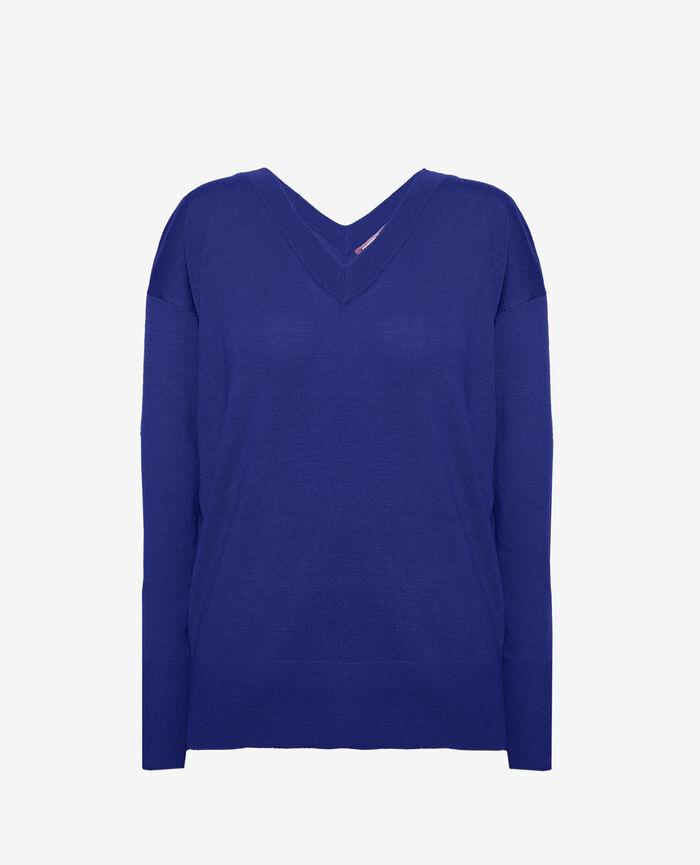Pull col v Bleu gouache Henri