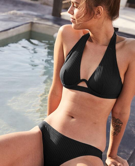Culotte de bain échancrée Noir Couture