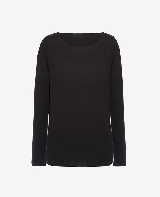 T-shirt long sleeves open neck Black Dimanche