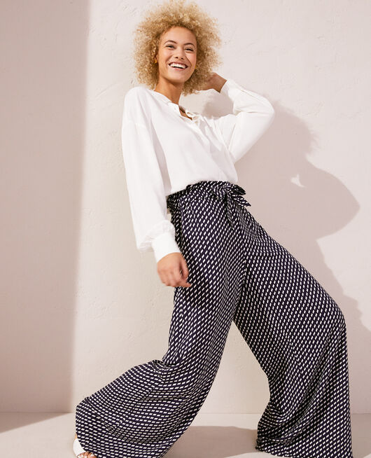 Trousers Navy blue confetti Lounge viscose