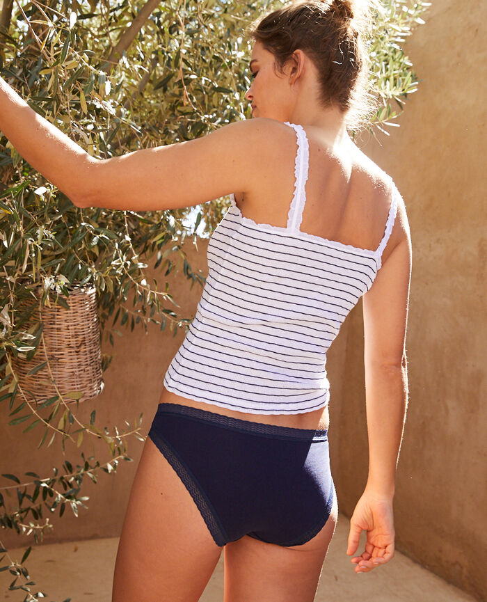 Cami Navy blue stripe Pointelle