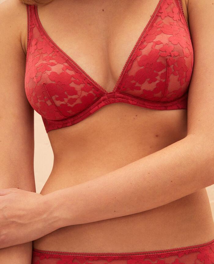 Soutien-gorge triangle avec armatures Rouge pivoine Lumiere