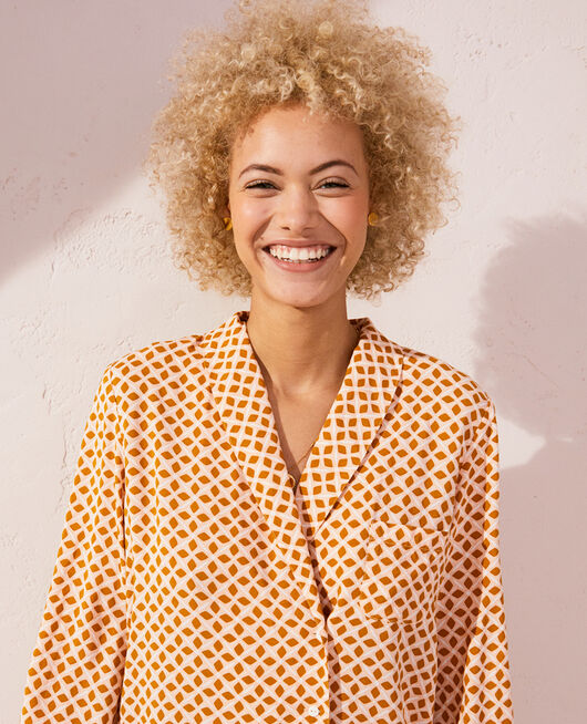 Pyjama jacket Cumin yellow geometric Pyjmania