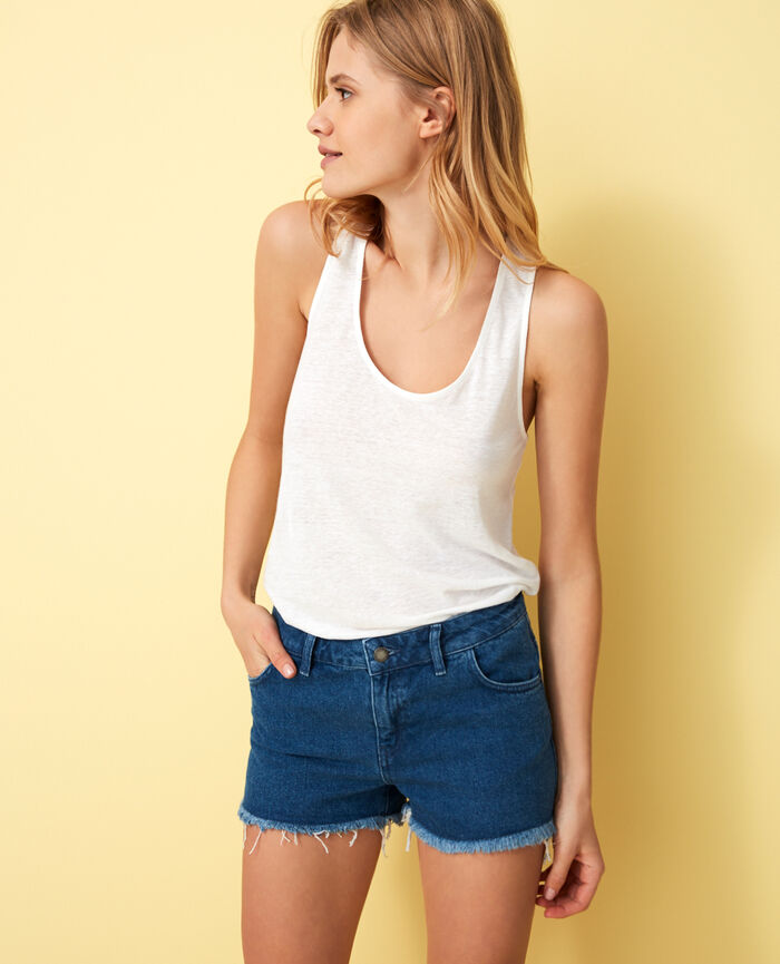 T-shirt sans manches Blanc Elisa