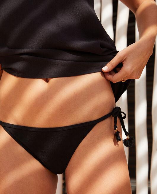 Culotte de bain bikini Noir Pompon