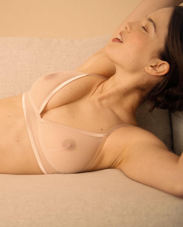 Soft cup bra Powder beige Pure