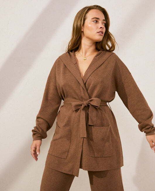 Long-sleeved cardigan Nutmeg brown Naturel