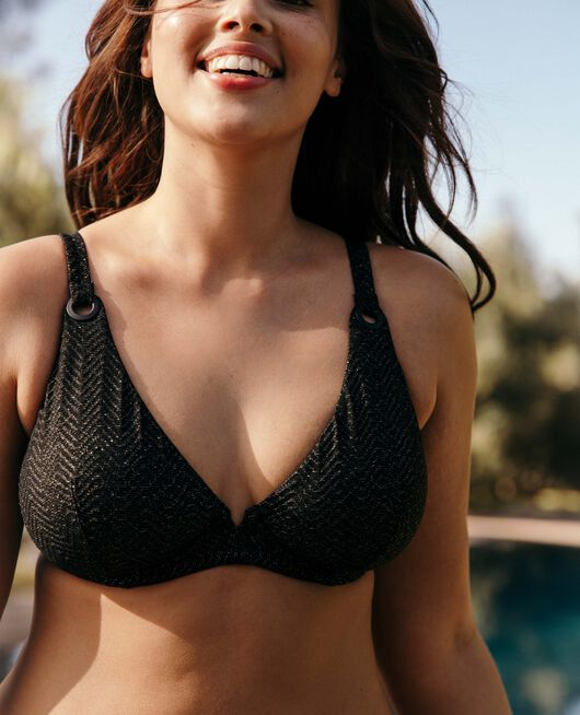 Underwired triangle bikini top Black Lalla