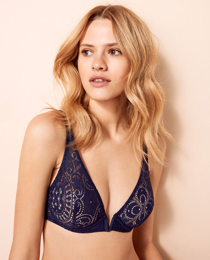 Underwired triangle bra Denim blue Evasion