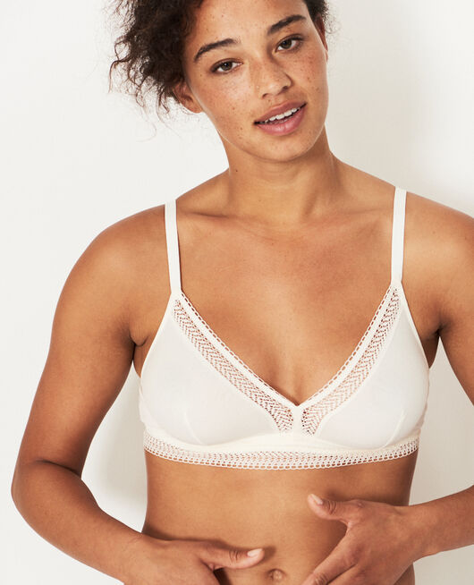 Soft cup bra Cream white Coton