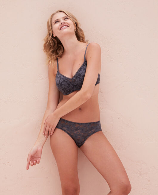 Soft moulded triangle bra Thunder grey Lumiere
