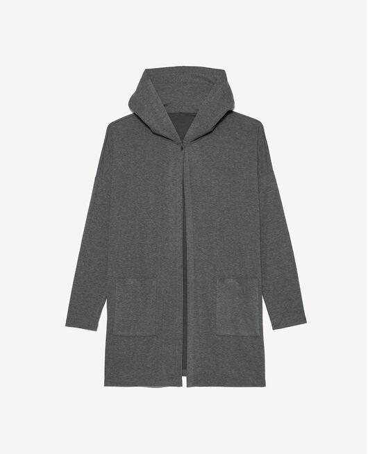 Long-sleeved cardigan Flecked grey Heattech® lounge