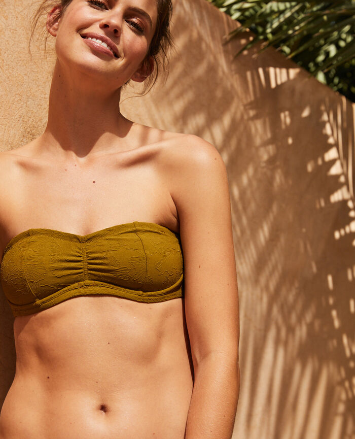 Concealed underwired strapless bikini top Green bowie Pompon