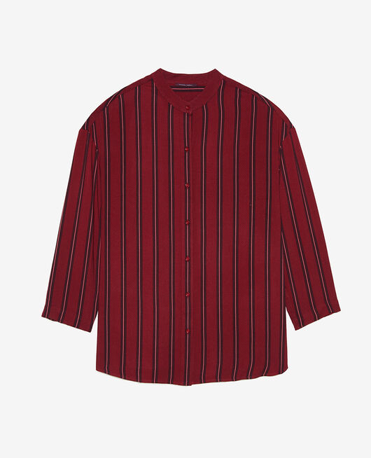 Long-sleeved tunic Ruby red stripe Pimpant