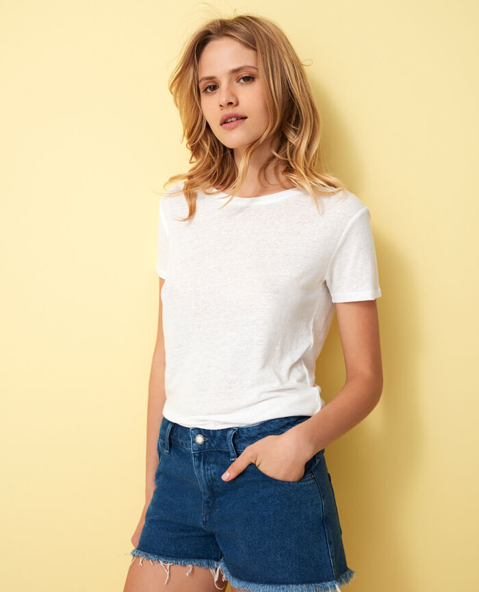 T-shirt manches courtes dos ouvert col v Blanc Elisa