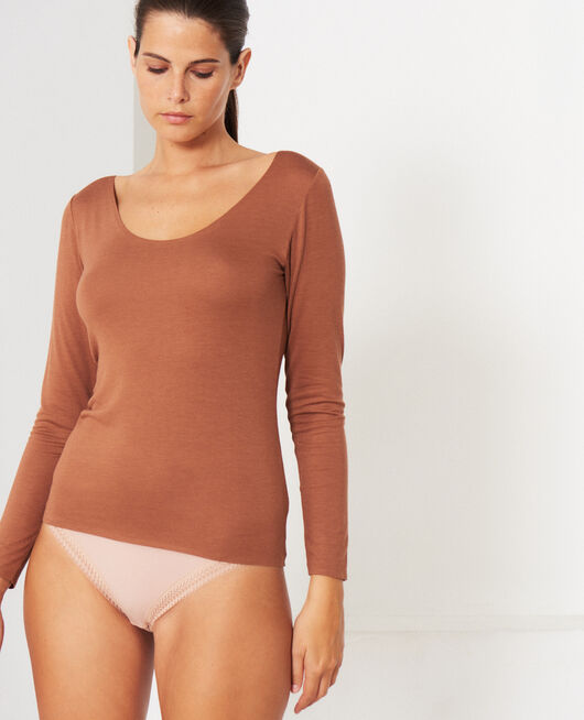 T-shirt manches longues Brun muscade Inner heattech