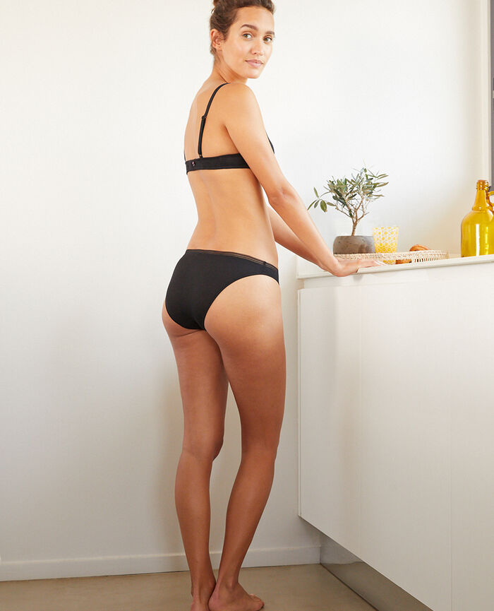 Culotte taille basse Noir Cosy