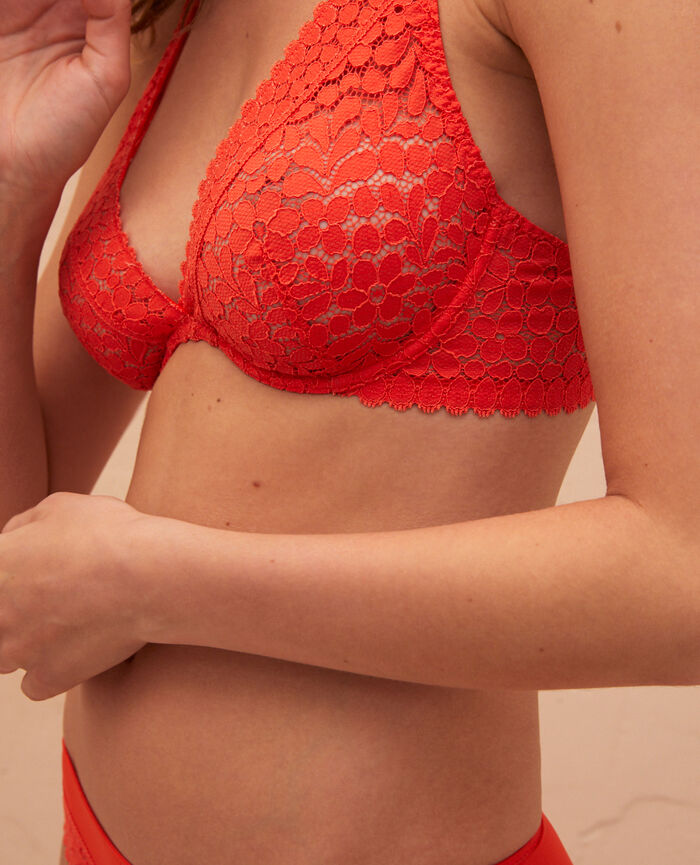 Underwired triangle bra Blood orange Monica