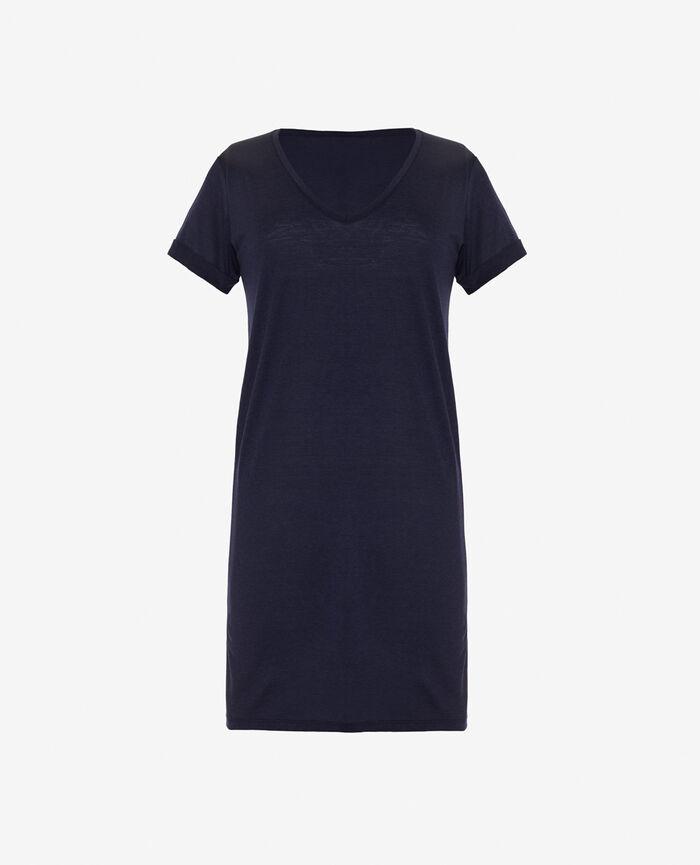 Chemise de nuit manches courtes Bleu marine Latte