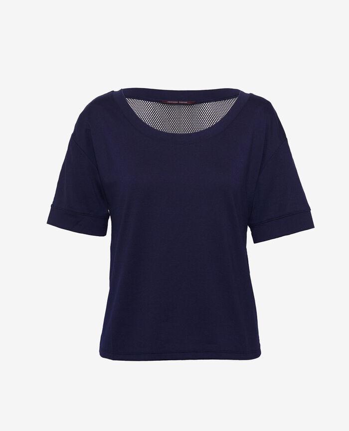 T-shirt manches courtes de sport Bleu marine Yoga resille