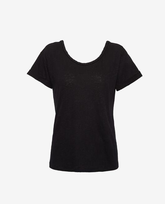 Short-sleeved open back t-shirt with boatneck Black Argan