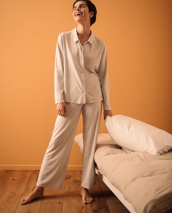 Veste de pyjama Blanc nacré chiné Bonne nuit
