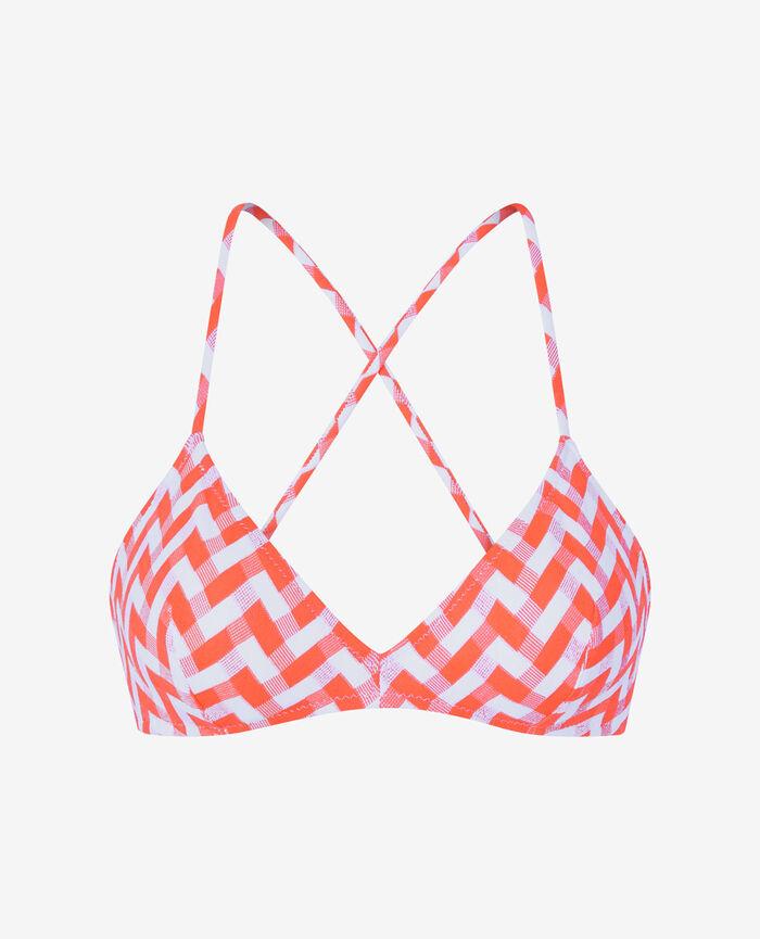 Soutien-gorge de bain triangle mousses Orange fluo Zebra