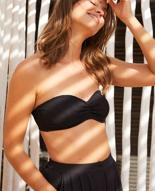 Concealed underwired strapless bikini top Black Pompon