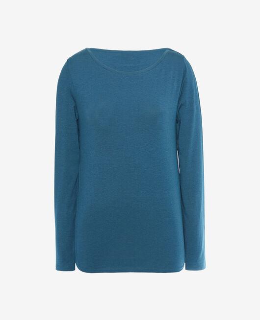 T-shirt long sleeves open neck Jazz blue Dimanche