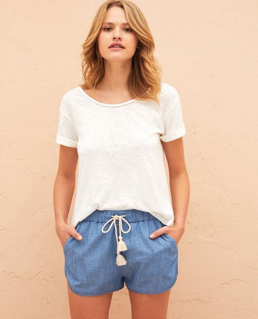 Short-sleeved open back t-shirt with boatneck Ivory Argan